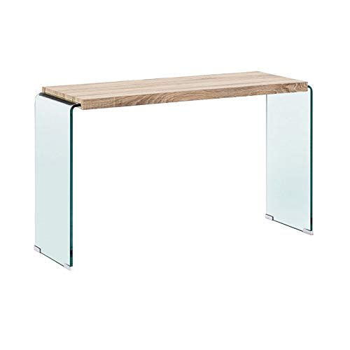- Recibidores Modernos de Cristal - Consola Osiris Madera/Cristal Curvado (120x40x70)