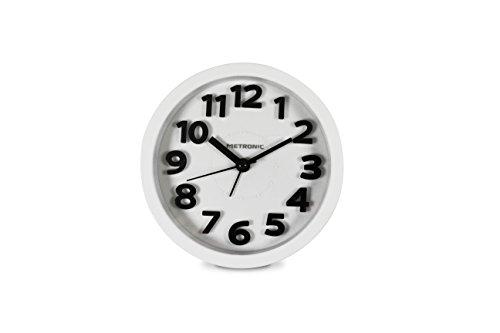 Metronic 477307 - Despertador clásico con Buzzer electrónico, Movimiento de Cuarzo, silencioso, Blanco