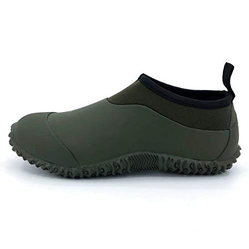 SYLPHID Men's Garden Shoes Women's Rain Shoe Waterproof Neoprene Camp Booties for Camping, Lawn Care, Gardening and Yard Work Dark Green