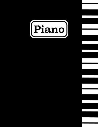 Piano: Cuaderno de Musica Pentagrama - Libro de Música en Blanco - Aprox. A4