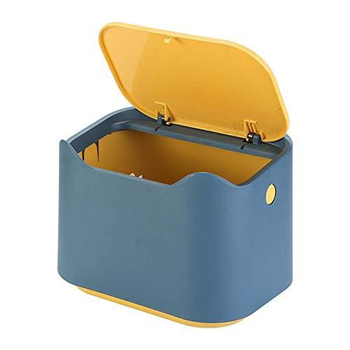 Papeleras Mini Bote De Basura Luz Escritorio De Oficina De Lujo Nórdico Mini Canasta De Papel En Casa Dormitorio Sala De Estar Linda Chica Almacenamiento Basura-Amarillo Azul