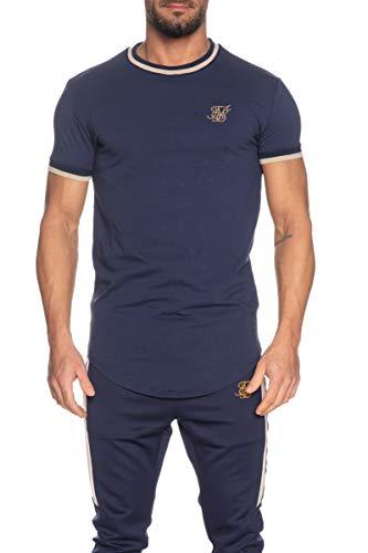 Sik Silk Camiseta S/S Rib Gym Navy Hombre x-Small Azul
