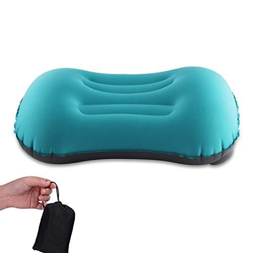 MSDADA Almohada hinchable para camping, viaje, 2.0, ultraligera, cómoda, cojín cervical, compresible, compacta, para camping, viajes, exterior, oficina (azul)