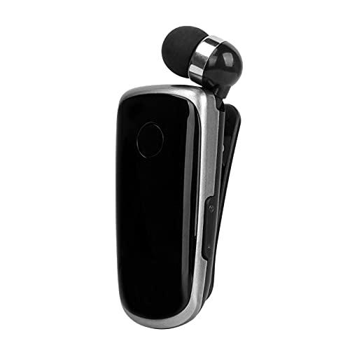QKFON Auricular Bluetooth con clip de collar retráctil con clip de clip compatible con auriculares Bluetooth Mini auricular de negocios para entrenamiento conducción