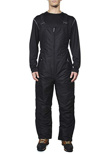 Arctic Quest Mens Insulated Water Resistant Ski Snow Bib Pants, Black, XL