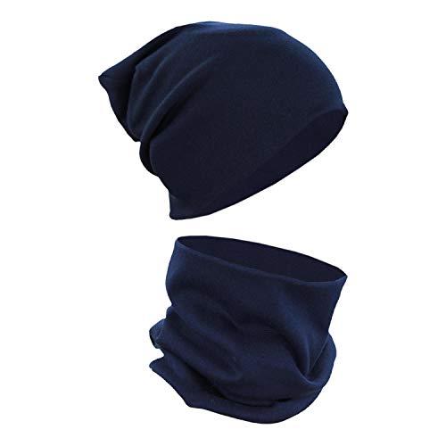 Alkato Unisex Beanie Mütze und Schal Set Uni, Farbe: Dunkelblau, Größe: Einheitsgröße
