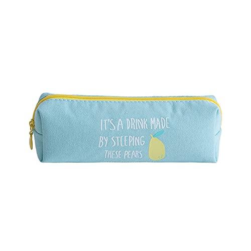 CNYG Estuche de lápiz, de lona con estilo impreso para Audlts, adolescentes, niños, estuche de transporte duradero con cremallera azul 20 x 7 cm