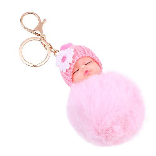 VOSAREA Peluche Boule de Cheveux Porte-clé poupée bébé décorations pendentifs Cadeaux de noël (Rose)