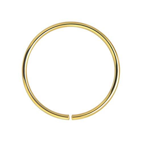 AZARIO LONDON 14K Yellow Gold 22 Gauge - 8MM Diameter Seamless Continuous Open Hoop Nose Ring Nose Piercing