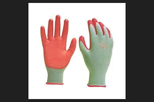 DIGZ Women's Stretch Knit Garden Gloves with Polyurethane Coating, Green/Pink, Medium