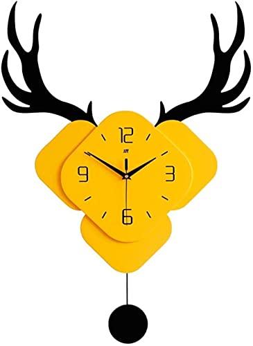 Escultura,Decoración del Jardín del Hogar 3D Deer Head Reloj De Pared para Niños Relojes De Cuarzo De Animales De Dibujos Animados Únicos para Estudiantes Niños Dormitorios Guardería 45X70Cm / 1