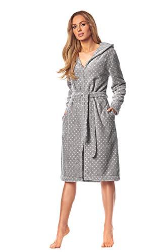 L&L - 9156 Long Luxury Toweling Damen Weicher Langarm Bademantel. Extrem Leicht. Hausmantel mit Reißverschluss in Voller Länge mit Kapuze für Damen. (Dots GRAF White, XX-Large)