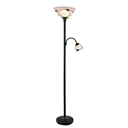 "CO-Z Torchiere Floor Lamp with Side Reading Light, 3-Way Switch Combo Antique Bronze Mother Daughter Floor Lamp with Glass Shade, 71"" Desk Floor Lamp for Living Room/Bedroom/Home Office"