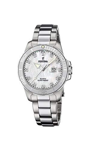 Festina Damen Analog Quarz Uhr mit Edelstahl Armband F20503/1