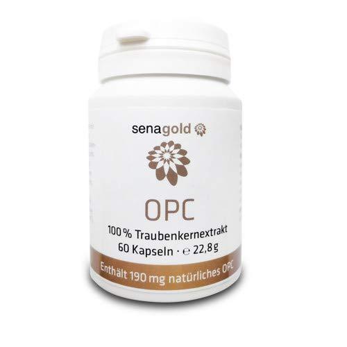 Senagold OPC Traubenkernextrakt Kapseln - 60 Stück - vegan - 380 mg, davon 190 mg OPC - Reinsubstanz ohne Zusatz- und Füllstoffe