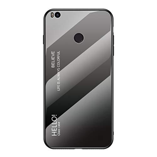LUSHENG Capa para Xiaomi Mi Max 2, cor gradiente, vidro temperado, capa traseira de TPU macio, capa para celular para Xiaomi Mi Max 2 (6,4 polegadas) - cinza + preto