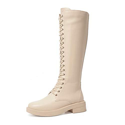 Sasecht Stiefel Kinderschuhe Dick Mit Wilden Hoch British Wind Knight Boots Tide Stiefel (Color : White, Size : 39)