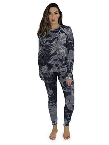 Just Love Women's Tie Dye Two Piece Thermal Pajama Set 6770-10484-BLK-M