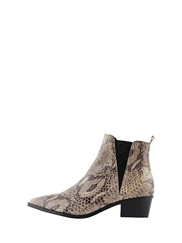 Pieces Pshara Leather Snake Boot, Botines Femme, Multicolore(Natural Natural), 41 EU