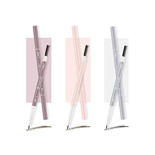 HIROCK Lápiz de cejas de 3 colores, recarga extremadamente delgada, lápiz de cejas de doble punta, resistente al agua y al sudor, duradero, no es fácil de decolorar (paquete de 3)