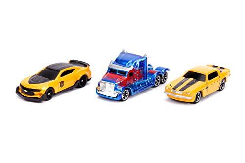 Jada Toys 253111000 Transformers 3er Set, Nano Spielzeugautos, Bumblebee, Optimus Prime, Freilauf, 4 cm, ab 3 Jahren, Mehrfarbig