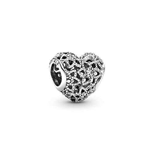 Pandora Moments Offen gearbeitetes Blumen-Herz-Charm Sterling Silber, Cubic Zirkonia 796264CZ