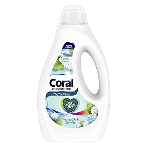 Coral Dufterlebnis Colorwaschmittel Wasserlilie & Limette Flüssigwaschmittel für bunte Wäsche mit langanhaltendem Duft 20 WL(1 x 1L)