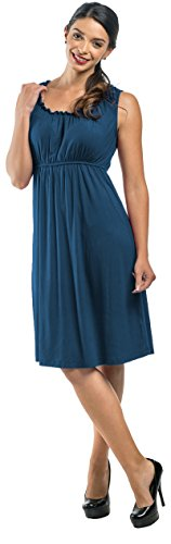 My Bella Mama Maternity Nursing Elastic Neck Dress Blue