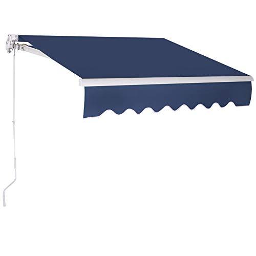 GOPLUS Balkonmarkise mit Klapparmen, Gelenkarmmarkise mit Sonnenschutz, Terrassenmarkise mit UV-Beschichtung, 300 x 250 cm Sonnenmarkise aus Aluminium, wasserabweisned (Blau)
