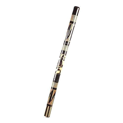 Didgeridoo Bambus Holz Aborigini bemalt geschnitzt Instrument fair Gecko Schildkröte Dot Painting (geschnitzt schwarz)