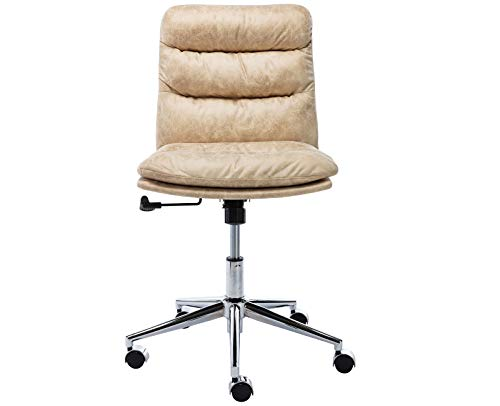 Guyou Leathaire Home Office Chair High Back Computer Desk Chair Bucket Seat, Armless Task Chair with Chrome Base, Beige