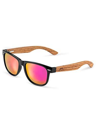 MIAROZ Gafas de Sol Polarizadas Hombre y Mujere, UV400 Protection, Gafas Ligeras con Patillas de Madera (Pink Lila)