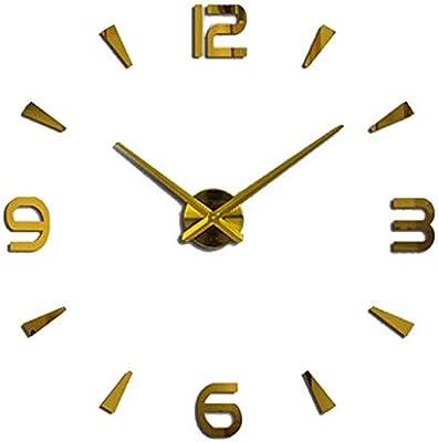 Nazaka | Wall Clock | 1 Piece Mirror Large Digital Wall Clock Home Decor Wall Clock Sticker Living Room Quartz Watch Creative Gift