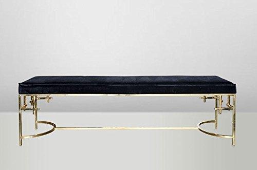 Casa Padrino Art Deco Sitzbank Edelstahl Gold - Vintage Jugendstil Möbel