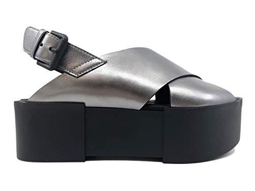 Vic Matie' 7210 Damen-Sandelette mit Zeppa-Leder, laminiert, Piombo, Grau - Stahl - Größe: 39 EU