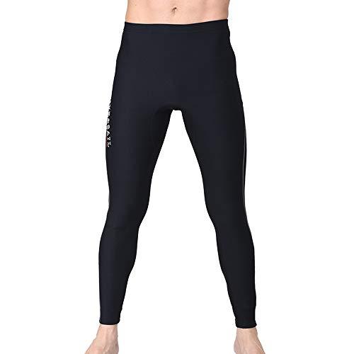 HIUGO ウエットスーツ ロングパンツ メンズ 1.5MM/3MM 裏起毛 ウエットパンツ ネオプレーン生地 渓流釣り カヤック カヌー サーフィン フィッシングウェア ブラック (2XL, 1.5MM-A(ブラック))