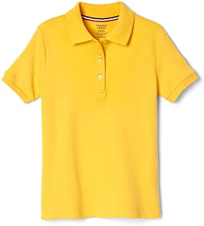 French Toast Girls Big Short Sleeve Picot Collar Polo Shirt Standard Plus Gold 18 20 product image