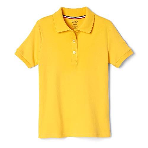 French Toast Girls' Big Short Sleeve Picot Collar Polo Shirt (Standard & Plus), Gold, 18-20