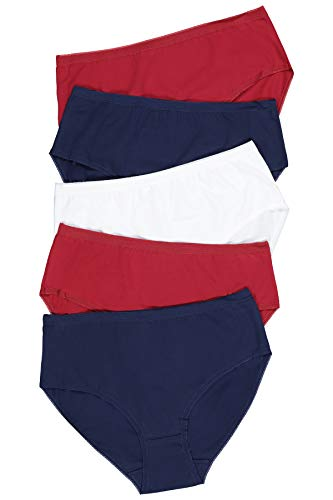 Ulla Popken Damen Slip 5er Pack, Uni Taillenslip, Mehrfarbig (Multicolor 90), (Herstellergröße: 58+)