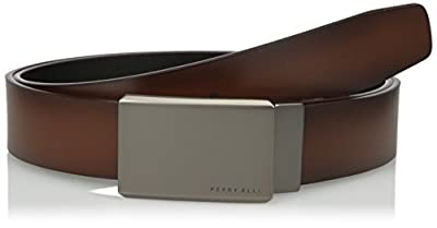 Perry Ellis Portfolio Men's Reversible Matte Gunmetal Plaque Belt, Brown/black, 34