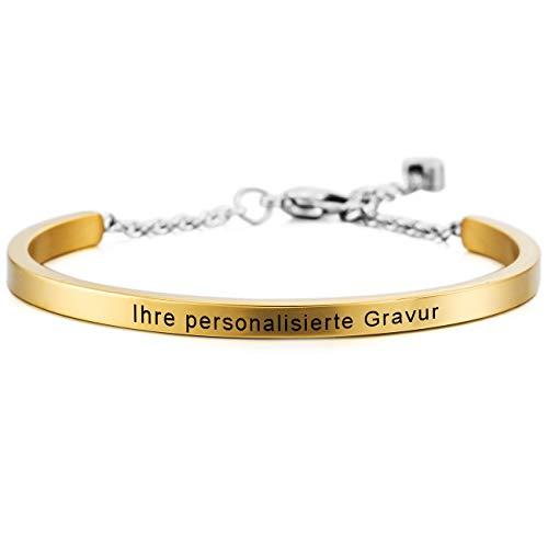 MeMeDIY Golden Ton Edelstahl Armband Manschette Herz Einstellbar Verstellbaren Gravur