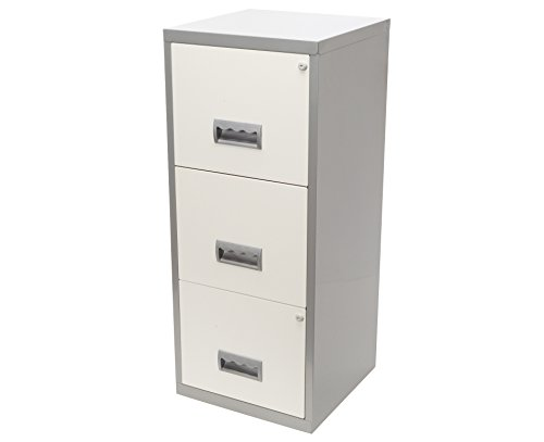 Pierre Henry A4 3 Drawer Maxi Filing Cabinet - Color: Silver/White