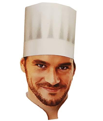 20 gorros de cocina abiertos de papel especial absorbente, altura de 21 talla única con adhesivo para regulación europea.