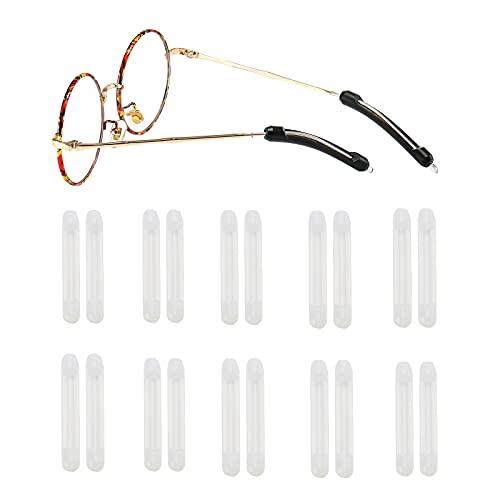 Suertree 10 Paare Silikon Antirutsch Überzüge für Brillen Bügelenden Antirutsch Brillenbügel Zubehör für Sportbrillen Sonnenbrille Lesebrillen Transparent
