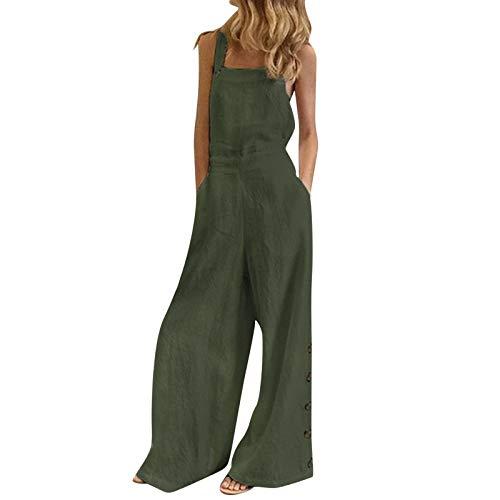 L9WEI Damen Kombinezon typu jumpsuit do noszenia na co dzień, bez rękawów, jednoczęściowy kombinezon jeansowy, luźny, na czas wolny, Playsuit śpioszki, dżinsy