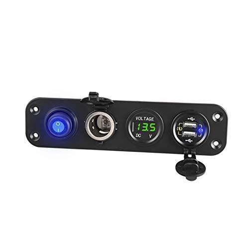 ZHANGQING QQINGZHANG 4 en 1 QC 3.0 Cargador de automóviles Fast CARGER Dual USB Cigarrillo Encendedor Toma de Encendido Enchufe 12V 24V Socket Voltímetro Digital (Color Name : Green)