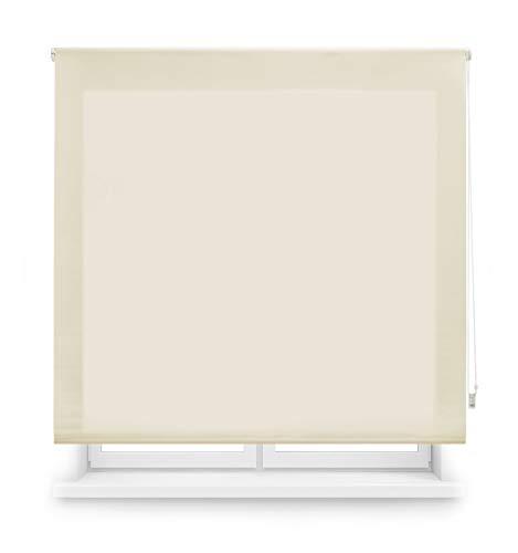 Blindecor Ara - Estor enrollable translúcido liso, Beige, 140 x 175 cm (ancho x alto)