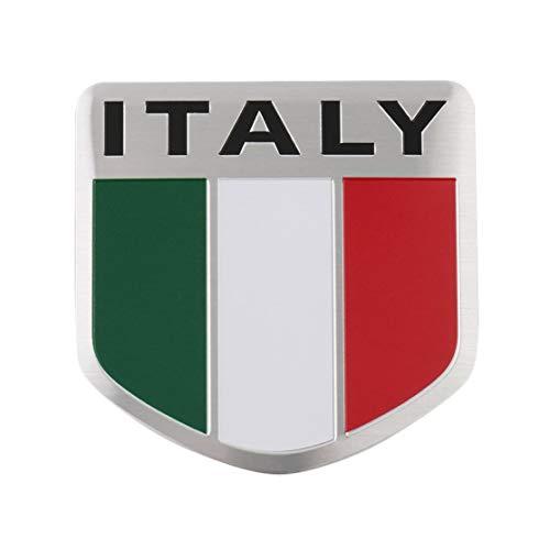 Kaemma 3D De Aluminio Mapa De Italia Bandera Nacional Etiqueta Engomada del Coche Car Styling para Fiat Iveco Lamborghini Alfa Romeo DeTomaso Maserati Zagato(Color:Multicolor)