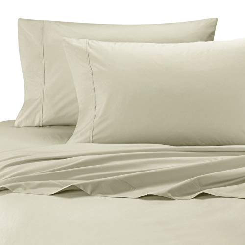 Wamsutta Cool Touch Percale 100% Egyptian Cotton Full Flat Sheet in Ivory