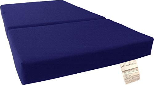 D&D Futon Furniture Trifold Foam Bed, Folding Ottoman Mattress (Royal Blue, Full Size (6 x 54 x 75))